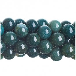 Stone Beads - 10mm Round - Moss Agate (strand)