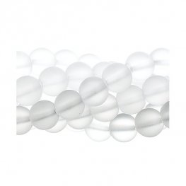 Stone Beads - 8mm Round - Clear Frosted Quartz (strand)