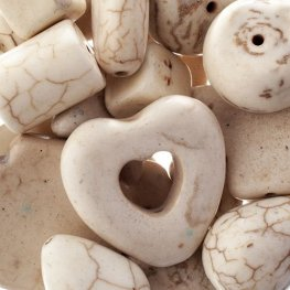 Stone Beads - Assorted Earths Jewels - White Magnesite Natural (Pack)