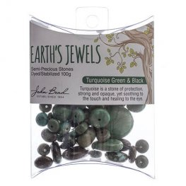Stone Beads - Assorted Earths Jewels - Green/Black Turquoise Dyed (Pack)