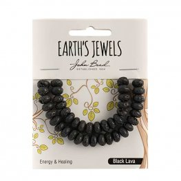 Stone Beads - 5x8mm Earths Jewels Rondelles - Black Lava (Pack)