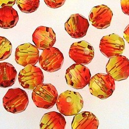 Swarovski Bead - 4mm Faceted Round (5000) - Fire Opal (Pkg 18)