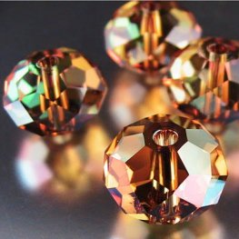 Swarovski Bead - 12mm Faceted Donut (5040) - Crystal Copper