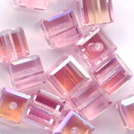 Swarovski Bead - 4mm Faceted Cube (5601) - Light Rose AB2