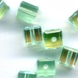 Swarovski Bead - 4mm Faceted Cube (5601) - Chrysolite AB2