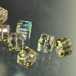 Swarovski Bead - 6mm Faceted Cube (5601) - Crystal Luminous Green