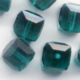Swarovski Bead - 6mm Faceted Cube (5601) - Emerald