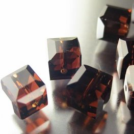 Swarovski Bead - 6mm Faceted Cube (5601) - Mocca