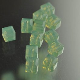 Swarovski Bead - 6mm Faceted Cube (5601) - Chrysolite Opal