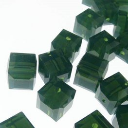 Swarovski Bead - 6mm Faceted Cube (5601) - Palace Green Opal