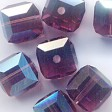 Swarovski Bead - 6mm Faceted Cube (5601) - Amethyst AB2