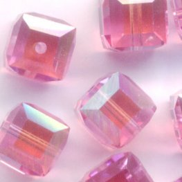 Swarovski Bead - 6mm Faceted Cube (5601) - Rose AB2