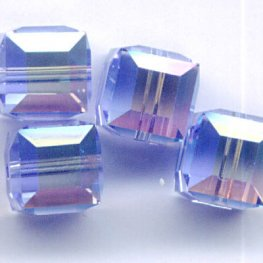 Swarovski Bead - 6mm Faceted Cube (5601) - Light Sapphire AB2