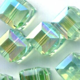 Swarovski Bead - 6mm Faceted Cube (5601) - Chrysolite AB2