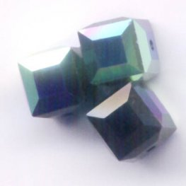 Swarovski Bead - 6mm Faceted Cube (5601) - Jet AB2