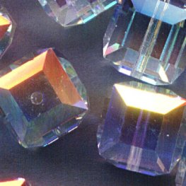 Swarovski Bead - 8mm Faceted Cube (5601) - Crystal AB2
