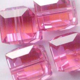 Swarovski Bead - 8mm Faceted Cube (5601) - Rose AB2