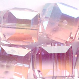 Swarovski Bead - 8mm Faceted Cube (5601) - Light Rose AB2