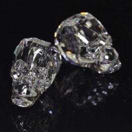 Swarovski Bead - 19mm Faceted Skull (5750) - Crystal Silver Patina