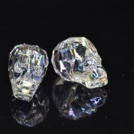 Swarovski Bead - 19mm Faceted Skull (5750) - Crystal White Patina