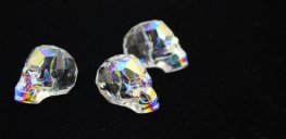 Swarovski Bead - 19mm Faceted Skull (5750) - Crystal AB