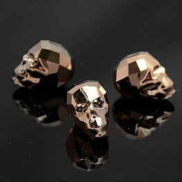 Swarovski Bead - 19mm Faceted Skull (5750) - Crystal Rose Gold 2X