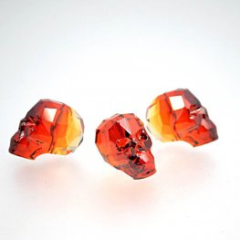 Swarovski Bead - 19mm Faceted Skull (5750) - Crystal Red Magma