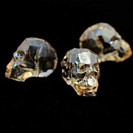 Swarovski Bead - 19mm Faceted Skull (5750) - Crystal Golden Shadow
