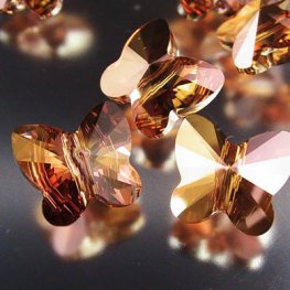 Swarovski Bead - 10mm Faceted Butterfly (5754) - Crystal Copper
