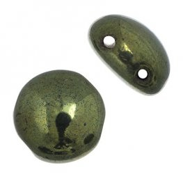 Czech Shaped Beads - 8mm 2-Hole Candy Beads - Opaque Olivine Luster (Strand 22)