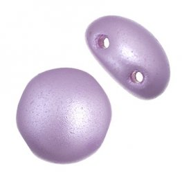 Czech Shaped Beads - 8mm 2-Hole Candy Beads - Lilac Pearl Pastel (Strand 22)