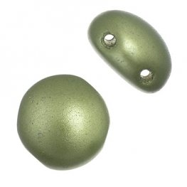 Czech Shaped Beads - 8mm 2-Hole Candy Beads - Sage Green Pearl Pastel (Strand 22)