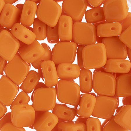 Czech Shaped Beads - 2-Hole Rhombus - Orange (tube) Manager Special