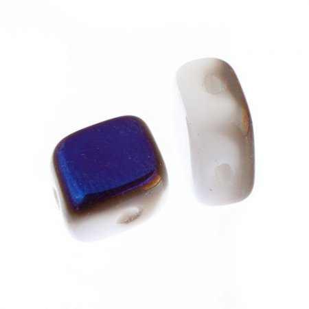 Czech Shaped Beads - 2-Hole Rhombus - Chalk White Azuro (tube) Manager Special