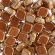 Czech Shaped Beads - 2-Hole Rhombus - Chalk White Apricot Medium (tube)