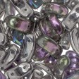 Czech Shaped Beads - 2-Hole Bow Bead - Crystal Silver Rainbow (tube)