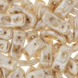Czech Shaped Beads - 2-Hole Bow Bead - Alabaster Picasso Honey (Pack 100)