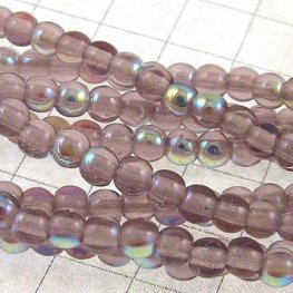 Glass - 3mm Druks - Light Amethyst AB (strand)