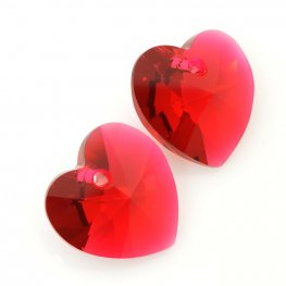 Swarovski Pendant - 14mm Faceted Xilion Heart (6228) - Scarlet