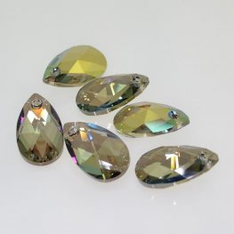 Swarovski Pendant - 22mm Faceted Pear Drop (6106) - Crystal Iridescent Green