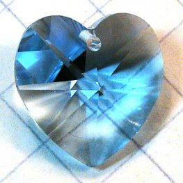 Swarovski Pendant - 14mm Faceted Heart (6202) - Aquamarine