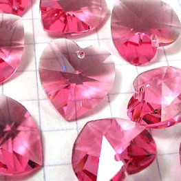 Swarovski Pendant - 14mm Faceted Heart (6202) - Rose