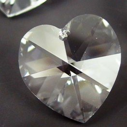 Swarovski Pendant - 18mm Faceted Heart (6202) - Crystal