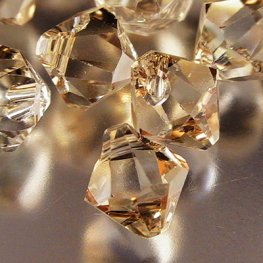 Swarovski Bead - 6mm Top-Drilled Bicone (6301) - Crystal Golden Shadow (12)