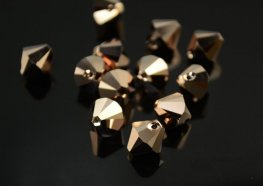 Swarovski Bead - 8mm Top-Drilled Bicone (6301) - Crystal Rose Gold 2X (6)
