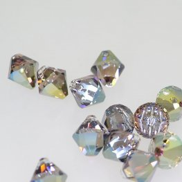 Swarovski Bead - 8mm Top-Drilled Bicone (6328) - Crystal Iridescent Green (6)
