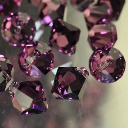 Swarovski Bead - 10mm Top-Drilled Bicone (6301) - Amethyst (6)