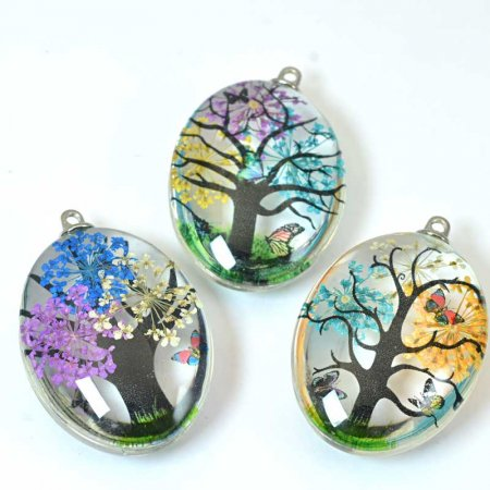 Dried Flower Pendant - 35mm Oval - Multi-Coloured