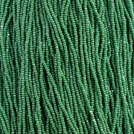 Czech Seedbeads - 11/0 Cut - Opaque Green Luster (half hank)