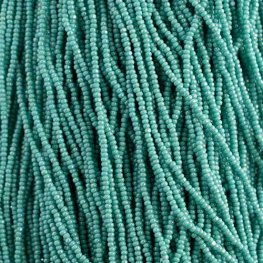 Czech Seedbeads - 11/0 Cut - Opaque Turquoise Rainbow (half hank)